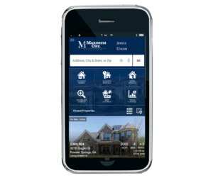 Smartphone showing Mobile App for Home Search Jenna Dixon DRA Homes