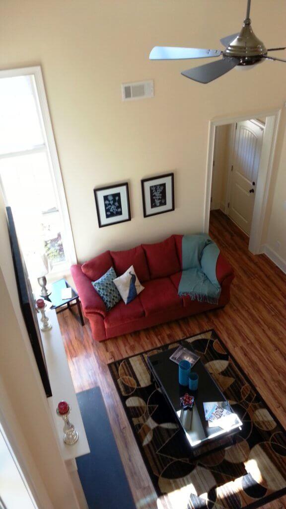 Great room pictured from above   Open floor plan in senior living neighborhood