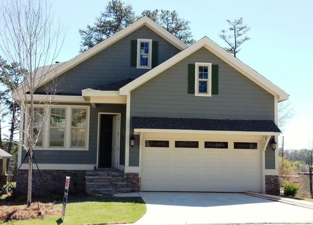 Green home, front exterior   Barrett Preserve Marietta   Active Adult