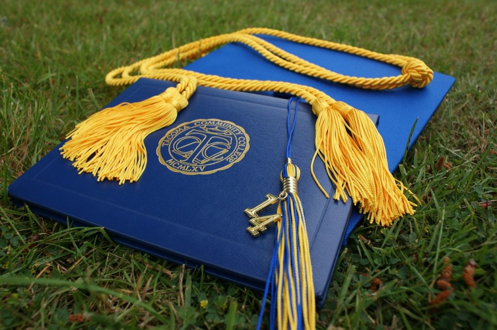 College graduation caps and tassels