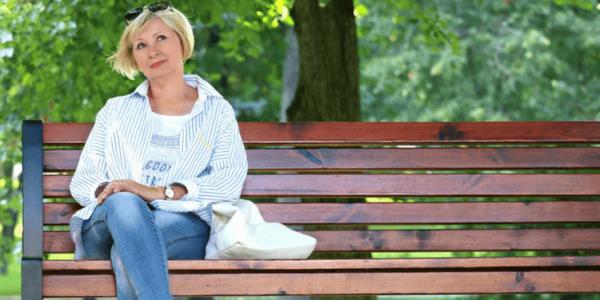 Woman on Bench Slider