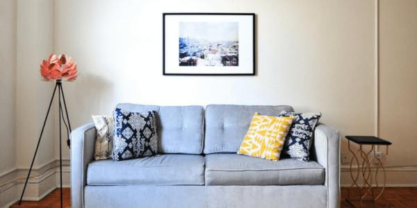 blue couch living room slider