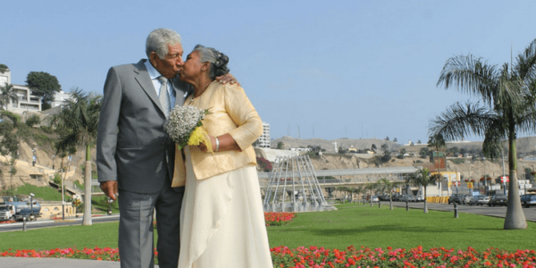 senior couple celebrating wedding slider
