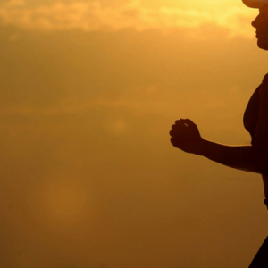 woman running at sunset slider
