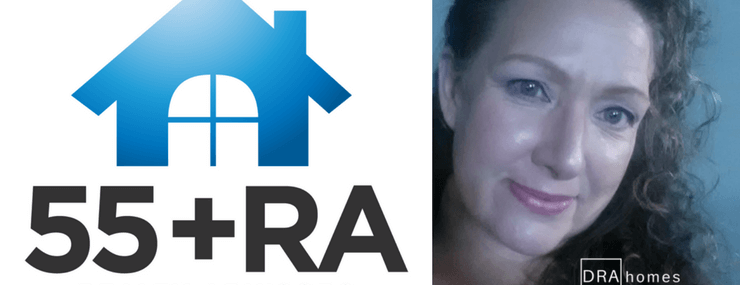 55+ Realty Advisors Designation Logo on left | Image of Jenna Dixon, Association Broker on right | DRA Homes Real Estate watermark in white on lower right