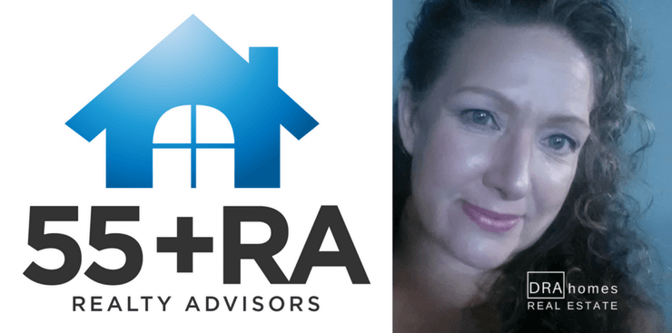 55+ Realty Advisor Designation Logo on left | Image of Jenna Dixon, Association Broker on right | DRA Homes Real Estate watermark in white on lower right