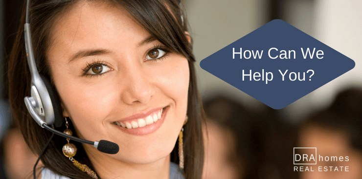 smiling female customer service representative wearing a telephone headset | How Can We Help You? In white on a blue diamond background | DRA Homes Real Estate watermark on lower right