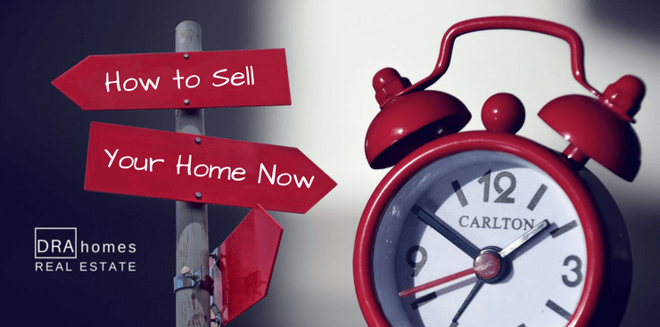 """Red sign post with """"How to Sell Your Home Now"""" in white next to a vintage red alarm clock 