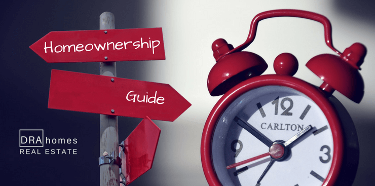 Signpost in red labeled Homeownership Guide red alarm clock on the right | DRA Homes Real Estate watermark on the lower left