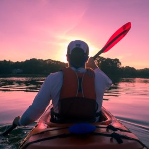 kayaking on lake at sunset acworth