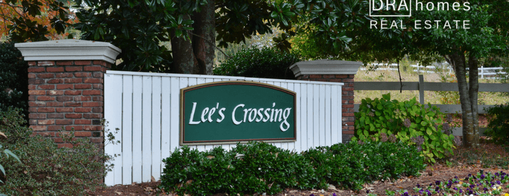 Lees Crossing Marietta 30064 Entrance Marker | DRA Homes Real Estate watermark in white upper right