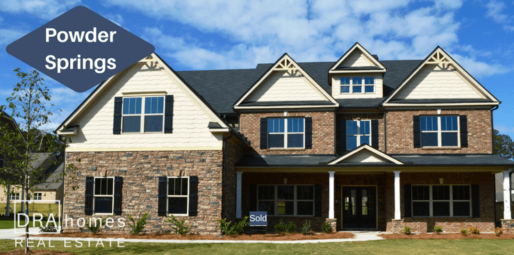 Luxury Home Exterior | Powder Springs New Homes 30127 | DRA Homes Real Estate Watermark