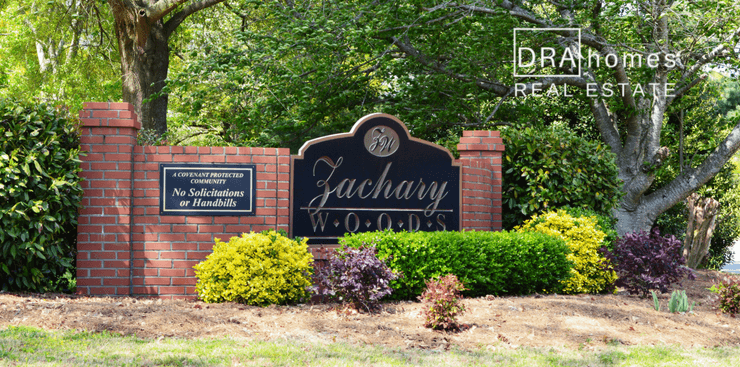 Zachary Woods Marietta 30064 Entrance Marker } DRA Homes Real Estate Watermark