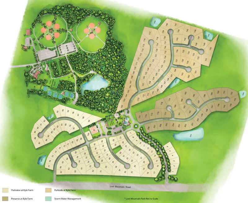 Kyle Farm Site Plan | New Homes Powder Springs | 440-600K