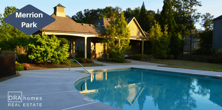 Merrion Park Swimming Pool & Clubhouse | Powder Springs | DRA Homes Real Estate Logo