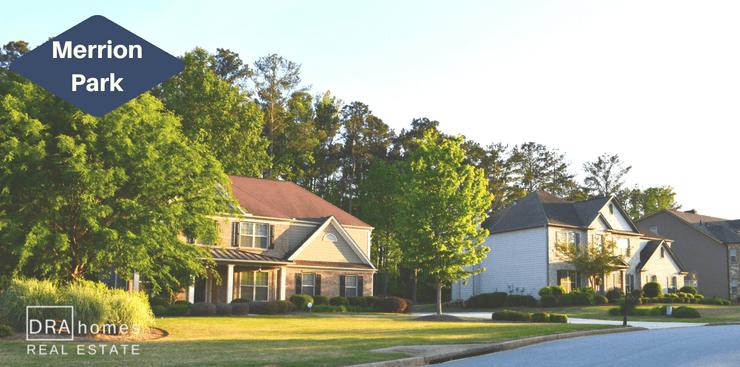 Merrion Park Powder Springs Street Scene | DRA Homes Real Estate Logo
