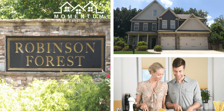 Robinson Forest Powder Springs Homes for Sale | Entrance Marker | Example of Robinson Forest Home | Couple Cooking together in a kitchen | Momentum Real Estate Group Logo