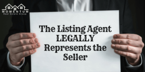 "Man holding sheet of paper that says ""The listing agent legally represents the seller"" 