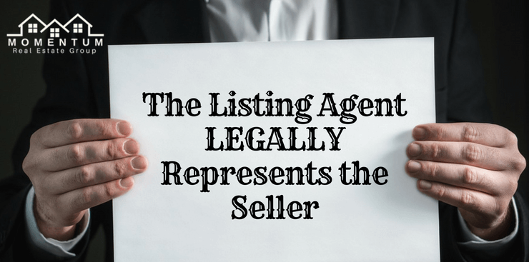 """Man holding sheet of paper that says """"The listing agent legally represents the seller"""" 